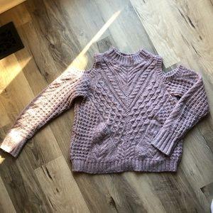 Express Cold shoulder lavender sweater